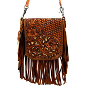 Montana West Leather, Floral Tooled Crossbody Pouch - Lt Brown