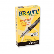 Pilot Bravo Bold Point Marker Pen - Black - 12-Pack