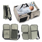 Travel Portable Bassinet 3 in 1 Nappy Bag Travel Baby Bed and Portable Changing Station, Multipurpose Baby Nappy Tote Bag Bed