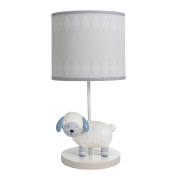 Happi By Dena Lambs & Ivy Little Llama Sheep Lamp with Shade & Bulb, Grey/Blue