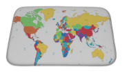 Gear New Bath Rug Mat No Slip Microfiber Memory Foam, Yellow Multicoloured Detailed World Map, 24x17