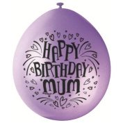 Happy Birthday Mum 9 Balloons [10] by Unique Party Supplies