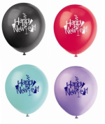 8x Happy New Year Balloons - Red, Green, Purple and Black - 30cm by Unique Party Supplies
