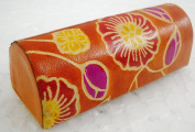 Women's Hand Embossed Colourful Floral Design Orange Lipstick case with Mirror-Shantiniketan Pure Leather