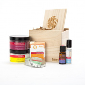 Sample Gift Set - Wood Box (Invigorate Soap, Reflection Candle, Lemon Body Butter, Protection Bath Salt, Exhale Roll-on, Solitude Dropper Bottle