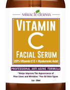 Miracle Derma Vitamin C Serum for Face, 30ml - 20% organic Vit C + E + Hyaluronic Acid Best Anti Ageing Cream For Wrinkles And Finelines