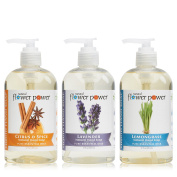 Natural Flower Power - Natural Liquid Hand Soap Variety Pack (Citrus & Spice, Lavender, and Lemongrass), pH Balanced, Pure Essential Oils, Soft and Moisturising, Sulphate Free - 350ml