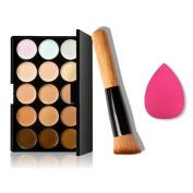 Mosunx(TM) 15 Colours Makeup Concealer Contour Palette + Water Sponge Puff + Makeup Brush
