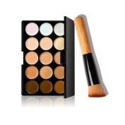Mosunx(TM) 15 Colours Makeup Concealer Contour Palette + Makeup Brush