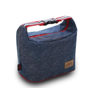 Finex Insulated lining Zippered Bento Lunch Box Tote Bag with Top Strap Buckle Handle Demin Blue Oxford Cloth with zipper