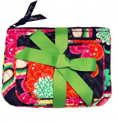 Vera Bradley Cosmetic Trio Ziggy Zinnia of 3 with Solid Pink Lining