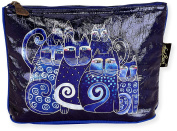 Laurel Burch Indigo Cats Foiled Cosmetic Bag One Size Multi