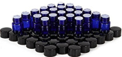 20pcs Cobalt Blue, 2ml Glass Bottles, with Orifice Reducers and Black Caps Multi--functional Cosmetics Containers