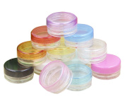 6pcs Plastic Cosmetic Sample Empty Refillable Round Cosmetic Jars with Screw Cap Lid for Lip Balm/Make Up/Eye Shadow/Powder/Gems / Nails/Beads Travel
