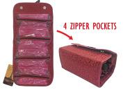 UTRAX Womens Travel Toiletires Bag folding Cosmetic Organiser Hanging Jewellery Pockets