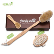 Natural Boar Bristle Body Brush with long handle & Face Brush Set for Body Scrub & Dry Skin Brushing, a Detachable Wooden Massager Head, Exfoliate Skin, Reduce Cellulite & Improve Circulation