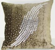 Velvet Pillow - Galaxy Light Brown - 50cm x 50cm .