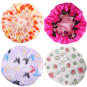 kilofly 4pc Waterproof Reusable Bath Hat Beauty Salon Spa Elastic Shower Caps