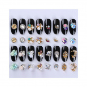 Born Pretty 32Pcs/set 3D Nail Decoration Colourful Flower Bead Star Rhinestone Manicure Nail Art Decoration 16 Patterns