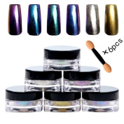 PhantomSky 6 Colour Nail Glitter Shinning Mirror Chrome Nail Powder Manicure Pigment #1