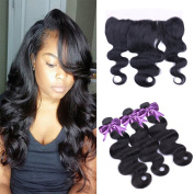 IUEENLY Hair Brazilian Body Wave Hair with Lace Frontal Closure Free Part 7A Brazilian Hair 3 Bundles with Frontal Closure 100% Virgin Human Hair Weave