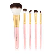 5 PCS Makeup Brush Set Professional Premium Synthetic Kabuki Foundation Blending Pink foundations concealers eye shadows brush Makeup Brush Set