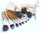 Beauty Star 11Pcs Professional Makeup Brush Set Tool with Comfortable Natural Wood Handles Great for Precision Makeup Contouring for Face Cheeks and Eyes