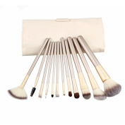 EYX Formula Professional Champagne Makeup Cosmetic Brushes Set ,Essential Portable Soft Wool Cosmetic Brushes Makeup Tool for Beauty with Cream-coloured Bag
