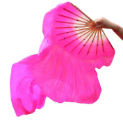 Eforstore Dance Fan Veil Hand Made Belly Dancing Silk Bamboo Long Fans Veils Folk Art Chinese Yangko Party Stage Performance Foldable Fan