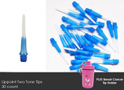 STRONG L-Style Plastic Long Lippoint Dart Tips 2-Tone 30ct + Breast Cancer Tip Holder Keychain