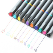 Fine Liner Sketch Drawing Pen,Metallic Marker Pens, 0.38mm Coloured, Best for Card Making,Colouring Book, Scrapbook and Black Paper - Set of 10 Colours.