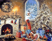 MailingArt Wooden Framed Paint By Number Christmas Snow No Mixing / No Blending Canvas DIY Painting - Christmas Painting