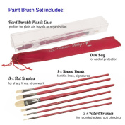 Paint Brush Set Acrylic Oil Painting. Professional Art Supplies 6pc Filbert Flat Round Artist Brushes. 100% Natural Chungking Hog Hair Bristle in Portable Organiser Plastic Container.