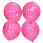 Ava & Kings 24pc Happy Birthday Theme For Her Pink Colour Party Supplies Balloon