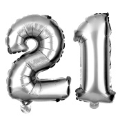 21 Number Balloons for 21st Birthday Party, Decorations and Supplies