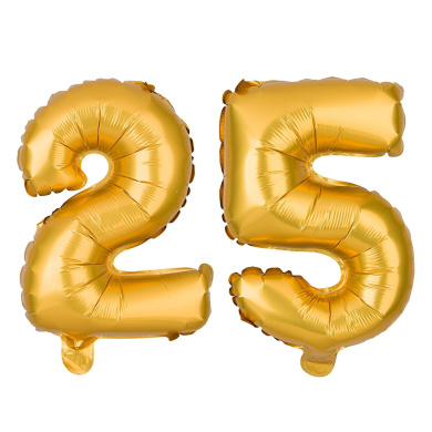 25 Number Balloons for 25th Birthday or Anniversary Party, Decorations & Supplies (41cm , Gold)
