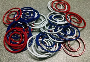 4th of July Large Metal Spiral Clips - Red White Blue