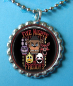 1 Five Nights at Freddy's Silver Bottle Cap Pendant Necklace #3