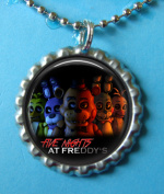 1 Five Nights at Freddy's Silver Bottle Cap Pendant Necklace #1