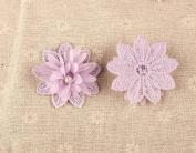 CraftbuddyUS 10x Lilac Flower w/ Pearl & Diamante Centre 3D motifs 50mm,SewOn Stitching Fabric