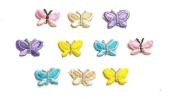 CraftbuddyUS 10 x 2517mm Mixed Colour Butterfly Iron On Card Making Craft Motifs