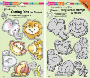 Stampendous Jungle Friends Stamps & Dies Set - 2 Item Bundle