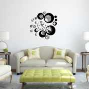 Lisingtool Black Circle Around 3D Wall Clock Wall Sticker DIY Art Home Decoration