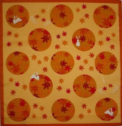 Furoshiki Wrapping Cloth Rabbits and Maple Leaves Motif Japanese Fabric 50cm