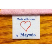 40 Custom Precut Cotton Loop Fold Sewing Label/tags with heart graphic and blue text-made in USA
