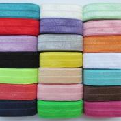 Chenkou Craft 20Yards Elastic Stretch Foldover FOE Elastics for Hair Ties Headbands Variety Colour Pack 20colors