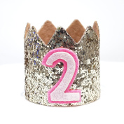 Mini Pale Gold Glitter Cake Smash Birthday Party Crown Hat - Baby to Toddler Size