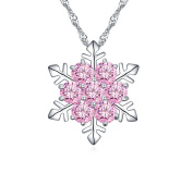 Snowflake Pendant Necklace with Cubic Zirconia Fashion Jewellery for Women White Gold Plated