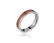 Genuine inlay pink wood wedding band ring titanium 4mm size 3-14