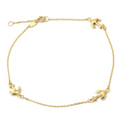 """10K Yellow Gold .50mm Diamond Cut Rolo Chain with 3 Anchor Charms Anklet Adjustable 9"""" to 10"""""""
